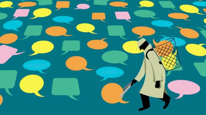 Mann sammelt viele verschiedene Sprechblasen *** Man collects many different speech bubbles PUBLICATIONxINxGERxSUIxAUTxO