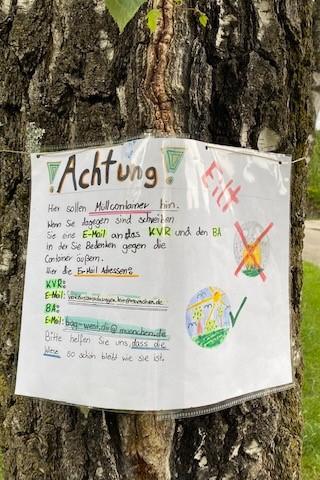 Wertstoffinsel  Protest Pasing Wilhelm-Hey-Straße