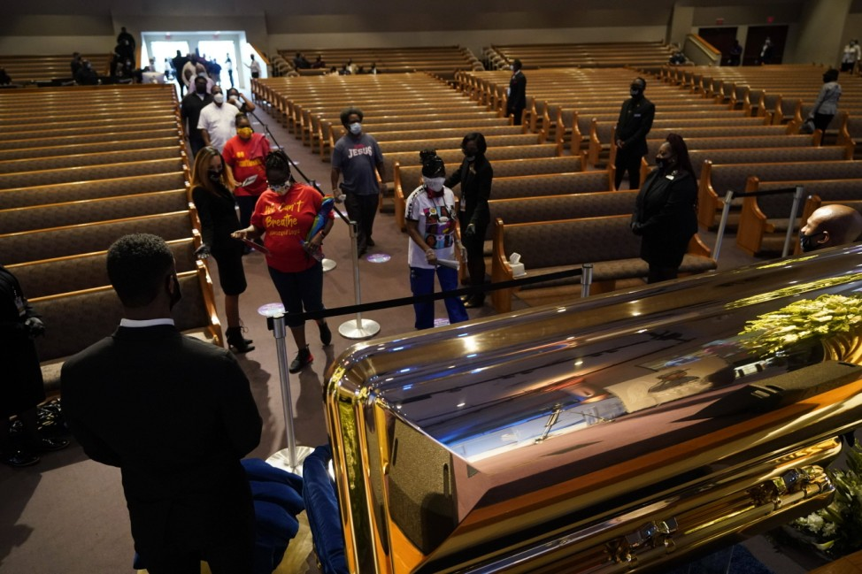 June 8, 2020, Houston, Texas, USA: Ushers guide mourners into the church during a public visitation for George Floyd at