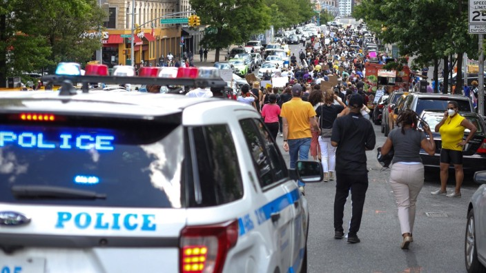 June 7, 2020, New York, New York, United States: Protesters during a protest in the Harlem neighborhood of New York City