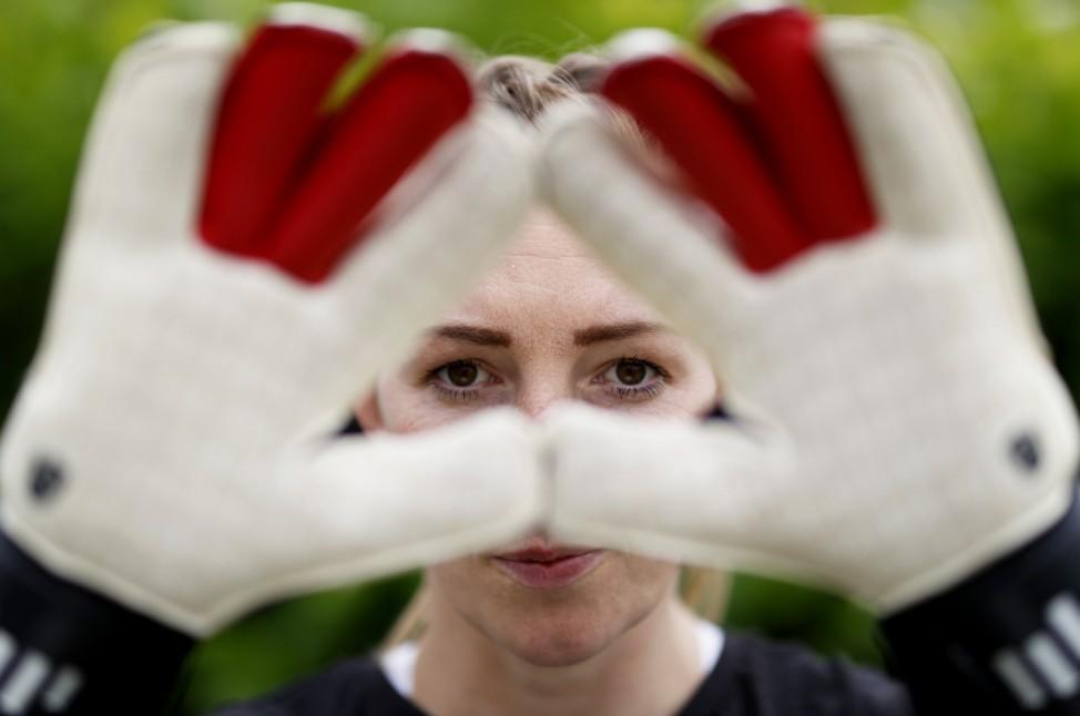 Manchester United Women And England Goalkeeper Siobhan Chamberlain Training during the Coronavirus Pandemic