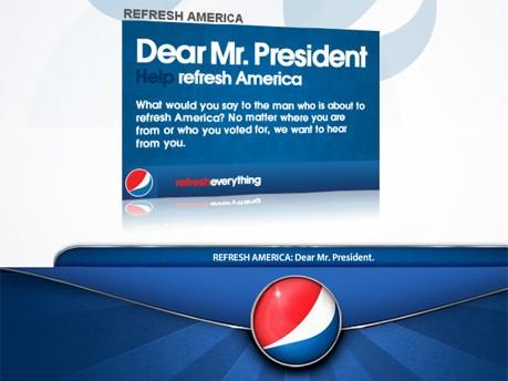 Barack Obama Das Geschäft mit der Vereidigung Foto: Screenshot www.pepsi.com