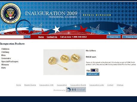 Barack Obama Das Geschäft mit der Vereidigung Foto: Screenshot www.presidentialinaugurationstore.com