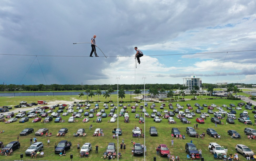 June 13, 2020, Sarasota, Florida, United States: (EDITORS NOTE: image taken with a drone).High wire artists Nik Wallenda
