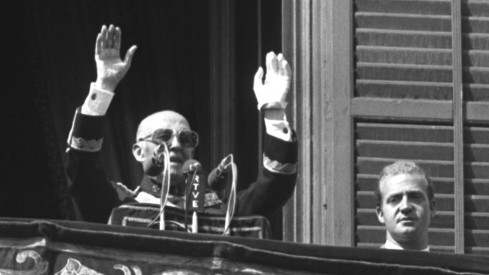 FILE PHOTO OF SPANISH DICTATOR FRANCO NEXT TO KING JUAN CARLOS