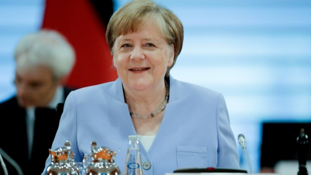 German Chancellor Angela Merkel attends a special cabinet meeting in Berlin