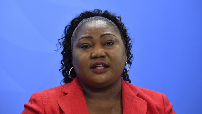 Rassismus: Sylvie Nantcha spricht im März während der Pressekonferenz zum 11. Integrationsgipfel in Berlin.