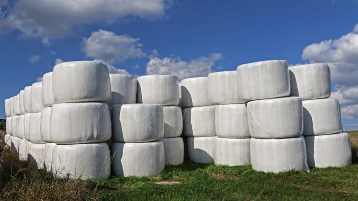 Stroh wird trocken in Folie gelagert Stroh in Form von in weißer Folie gewickelten Rundballen auf e