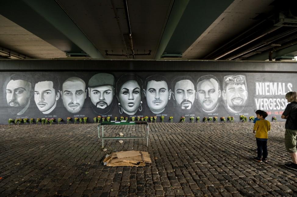 Hanau Shooting Victims Commemorated With Frankfurt Street Art Unveiling
