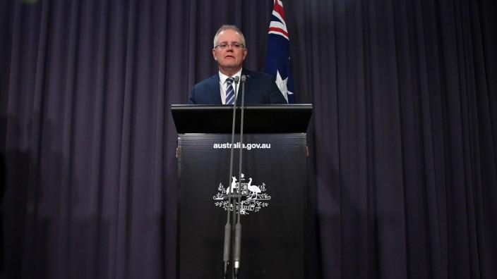 SCOTT MORRISON CYBER ATTACK PRESSER, Prime Minister Scott Morrison at a press conference, reveals a state-based cyber a