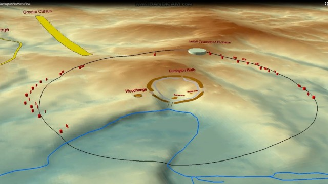 The location of wide circle of pits surrounding an ancient settlement near Stonehenge