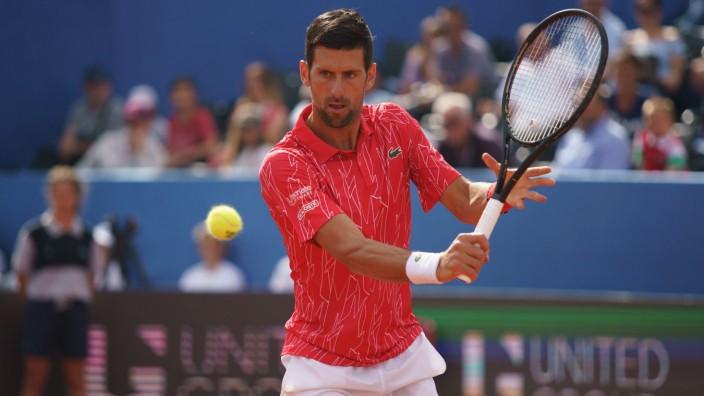 Adria Tour Djokovic vs Serdarusic - Zadar, Croatia (200621) -- ZADAR, Jun 21, 2020 - Novak Djokovic of Serbia in action