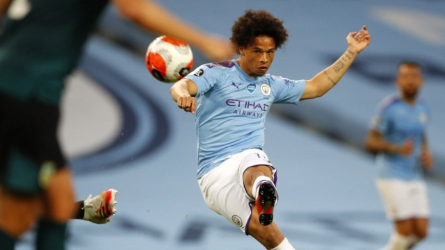 Football - 2019 / 2020 Premier League - Manchester City vs. Burnley Leroy Sane of Manchester City at the Etihad Stadium.