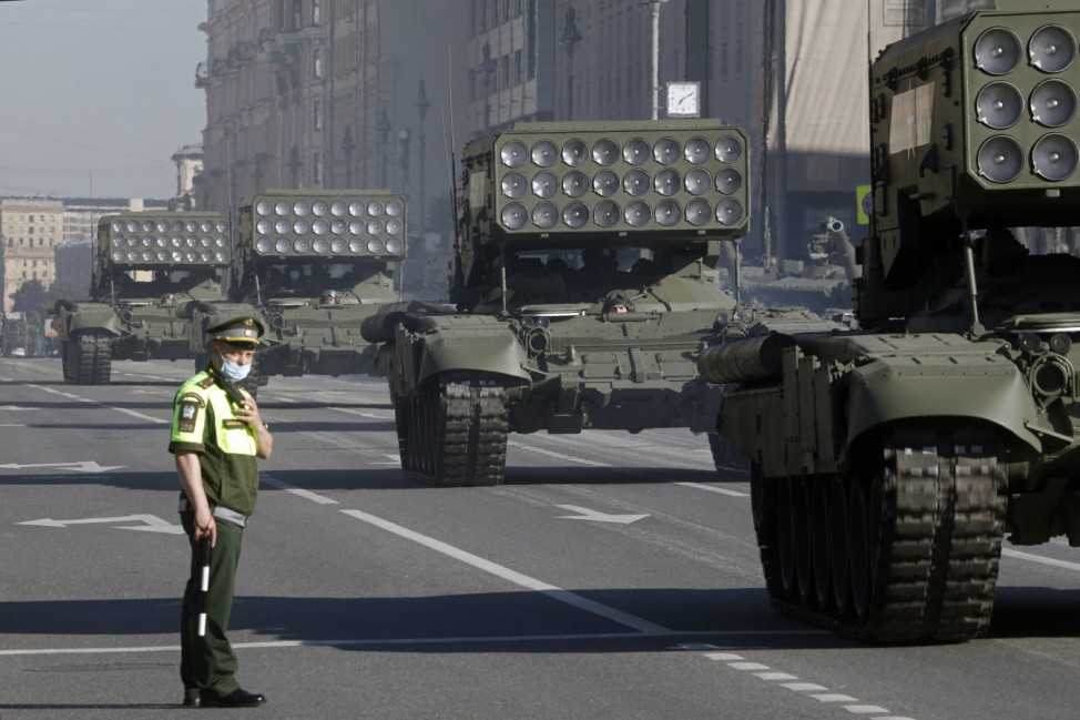 MOSCOW, RUSSIA - JUNE 24, 2020: A TOS-1A Buratino multiple rocket launchers move along Tverskaya Street ahead of a Victo