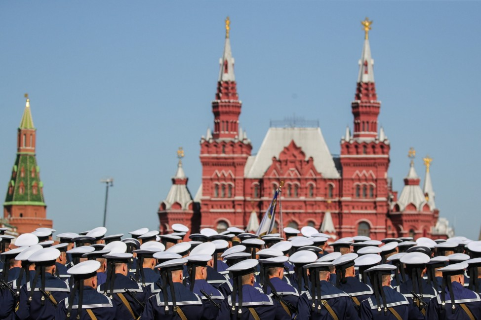 MOSCOW, RUSSIA - JUNE 24, 2020: Servicemen stand in formation in front of the State Historical Museum ahead of a Victory