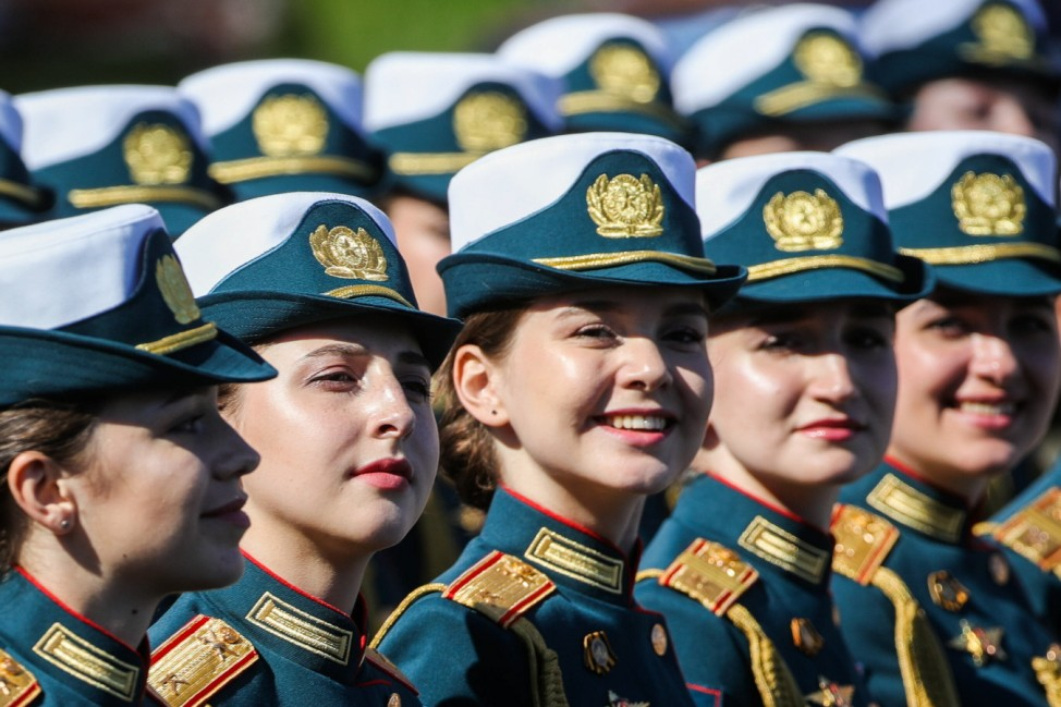 MOSCOW, RUSSIA - JUNE 24, 2020: Servicewomen stand in formation ahead of a Victory Day military parade in Red Square mar