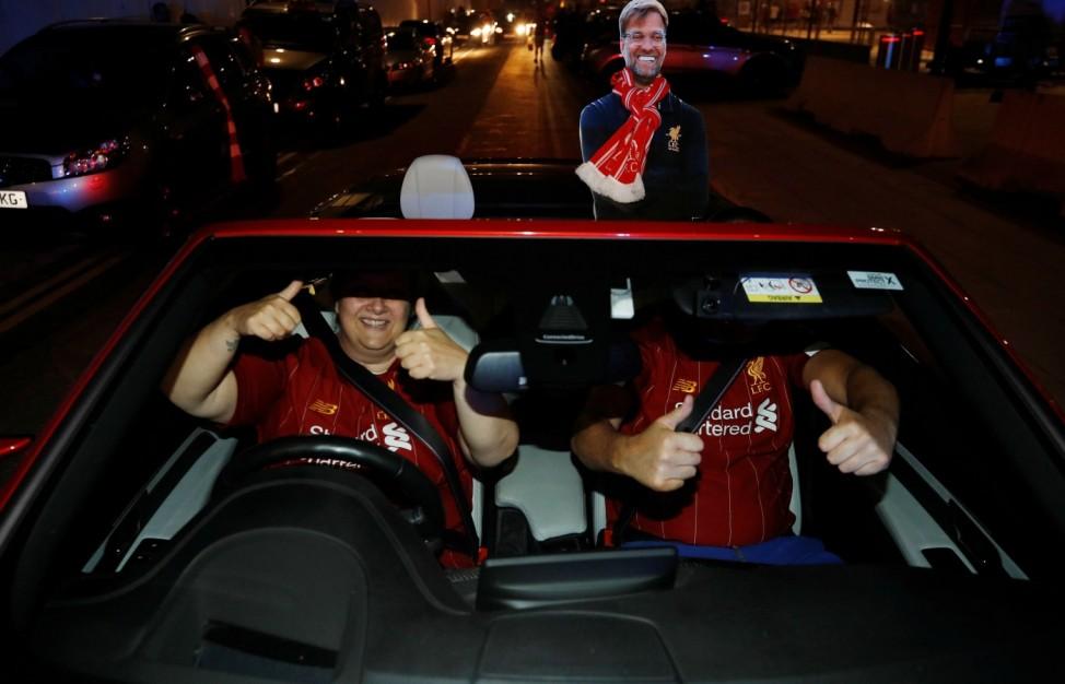 Premier League - Liverpool fans celebrate winning the Premier League