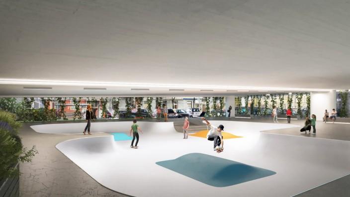 Skaterpark unter der Donnersbergerbrücke Idee und Simulation: Architekt Flavio Cucina