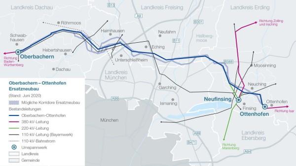geplante Stromtrasse in der Region München