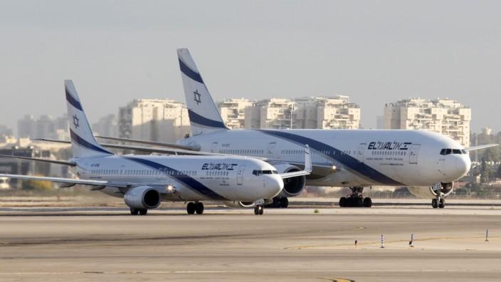 Israel: El-Al-Maschinen am Flughafen Ben Gurion International Airport in der Nähe von Tel Aviv.