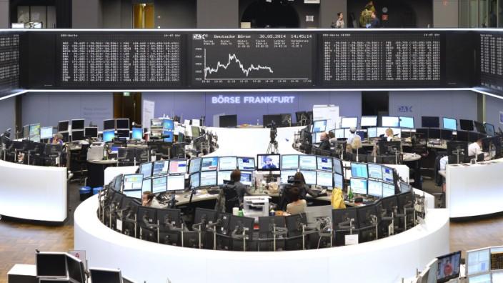 Handelssaal der Frankfurter Wertpapierbörse Kurstafel des DAX Deutsche Börse AG Frankfurt am Main