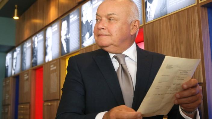 MOSCOW RUSSIA - SEPTEMBER 1 2019 Rossiya Segodnya News Agency Director General Dmitry Kiselev at