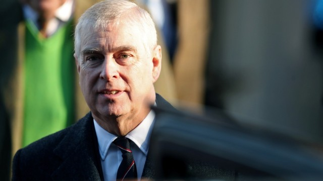 FILE PHOTO: Britain's Prince Andrew leaves St. Mary the Virgin church in Hillington