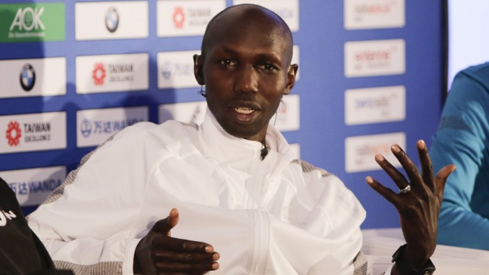 Germany 44th BMW Berlin Marathon press conference PK Pressekonferenz Wilson Kipsang is pictured at