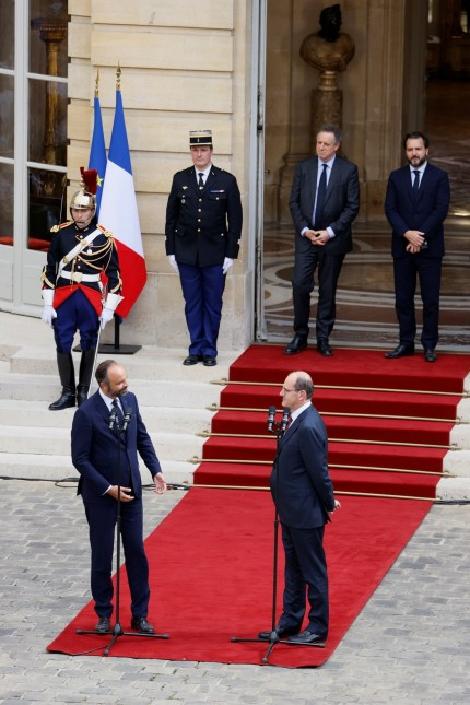 Handover ceremony between outgoing PM Edouard Philippe and newly-appointed PM Jean Castex