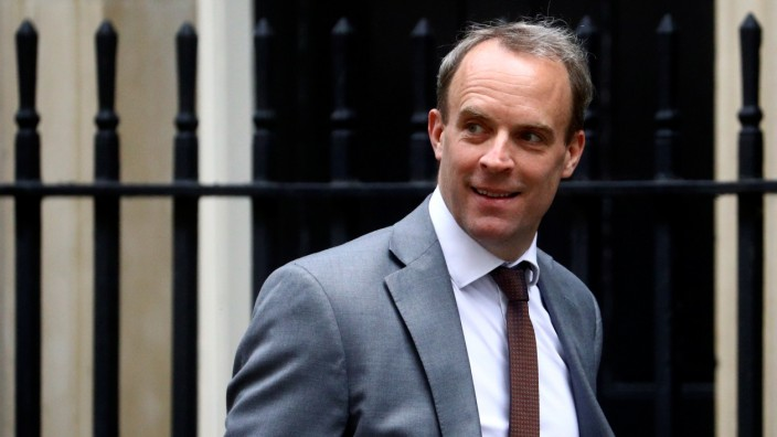 Britain's Foreign Secretary Dominic Raab arrives at Downing Street, in London