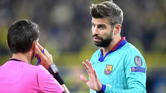 Fussball UEFA Champions League Saison 2019 2020 Vorrunde Spiel 1 Borussia Dortmund FC Barcelona; Gerard Pique FC Barcelona Schiedsrichter