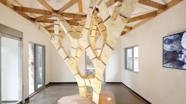 """Ressourcen: Architektonische Visionen: Der """"MycoTree"""" wurde 2017 bei der Seoul Biennale of Architecture and Urbanism 2017 gezeigt."""