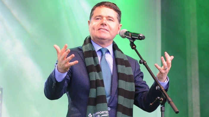 Irish Fine Gael politician Paschal Donohoe joins the St Patrick s Day parade in London passing through Piccadilly and R