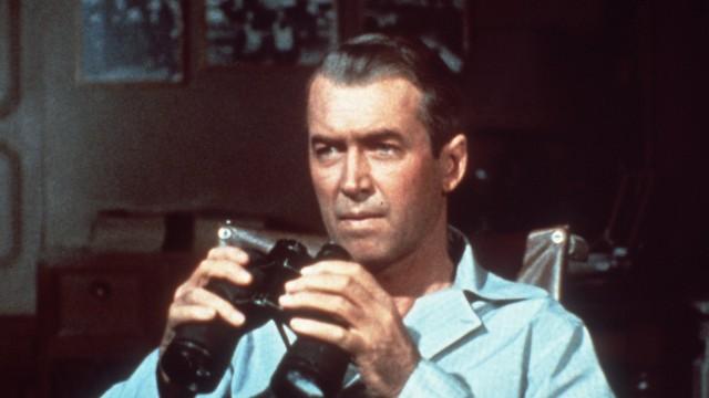 REAR WINDOW DAS FENSTER ZUM HOF Pressefotograf Jeffries JAMES STEWART ist durch einen Beinbruch