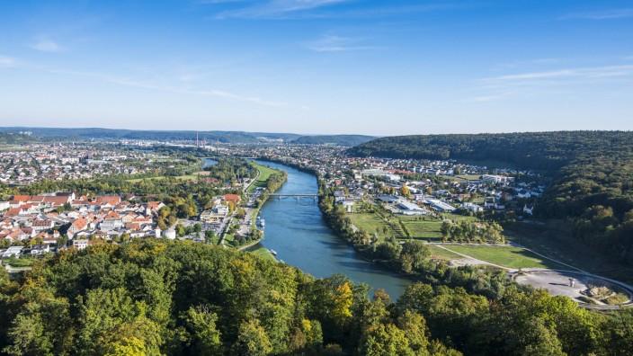 View over Kehlheim and the River Danube from the Befreiungshalle Kehlheim Kelheim Bavaria Germa