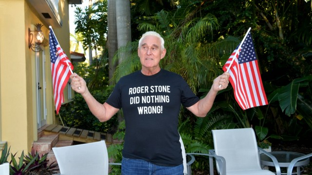 MIAMI, FL - FEBRUARY 06: (File Photo) Trump ally Roger Stone (Born: August 27, 1952 age 66 years) out enjoying the Flori