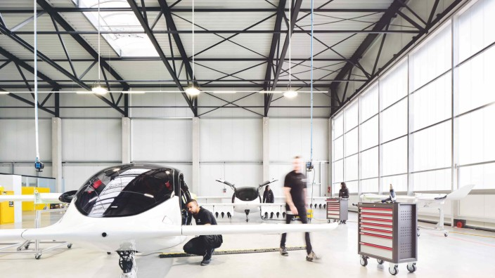 A handout picture from Munich flying taxi startup Lilium shows its five-seater prototype