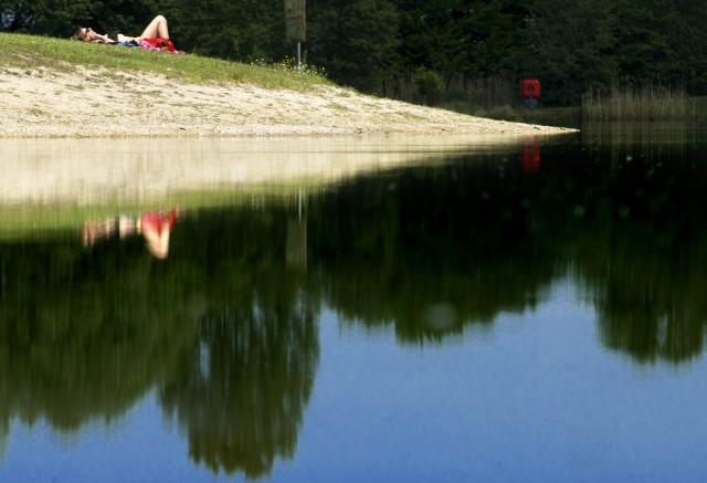 Germering: Germeringer See / Badesee - Sinkender Wasserpegel