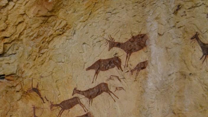 Escena de caça de la cova dels Cavalls, reproducció del museu de la Valltorta
