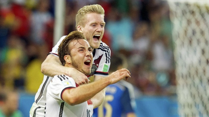 (L-R) Mario GÖTZE of Germany, Andre SCHÜRRLE of Germany during the final of the FIFA World Cup 2014 on July 13, 2014 at