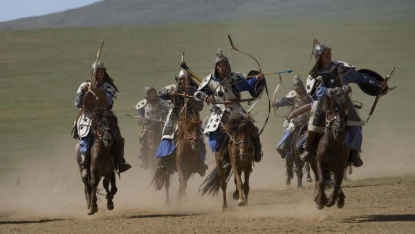 MONGOLIA Re enactement of an attack by the mounted armies of Genghis Khan emperor of the Mongol Emp