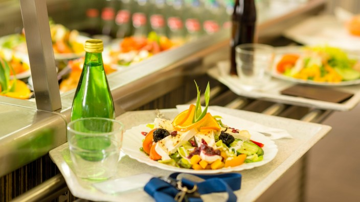 Canteen serving tray healthy fresh salad cafeteria lunch food self service property released PUBLICA