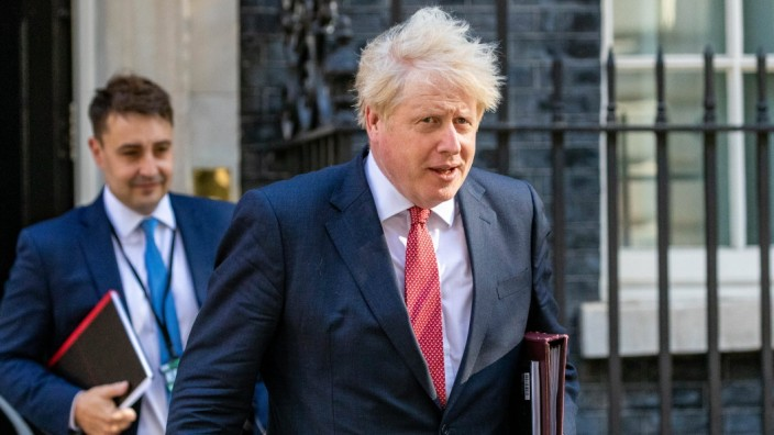 Prime Minister Boris Johnson, leaves Number Ten in Downing Street on Tuesday, 21 July 2020 to attend a Cabinet meeting