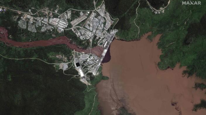 Nil: Satellitenbild des Grand Ethiopian Renaissance Dam (GERD) von Juli 2020.