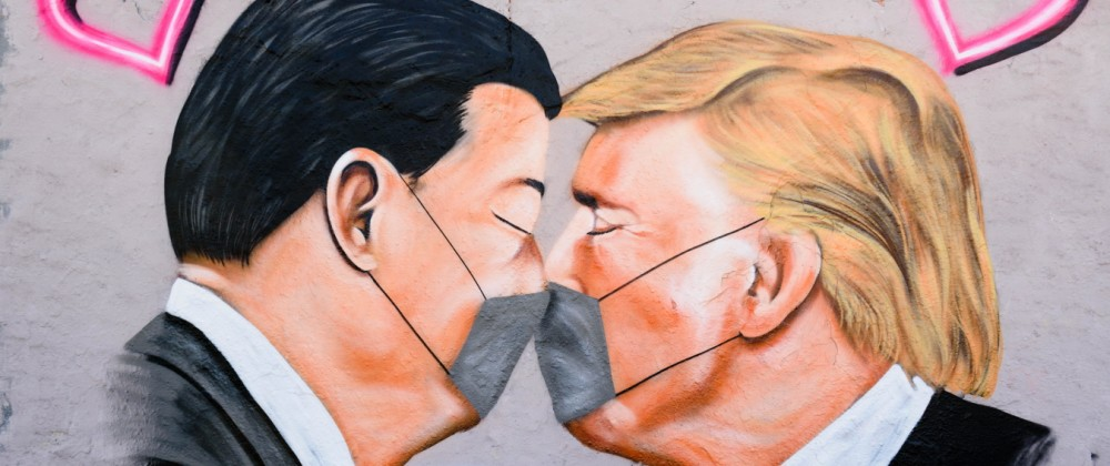 News Bilder des Tages April 28, 2020, Berlin, Berlin, Germany: A grafitti with portraits of US President DONALD TRUMP a