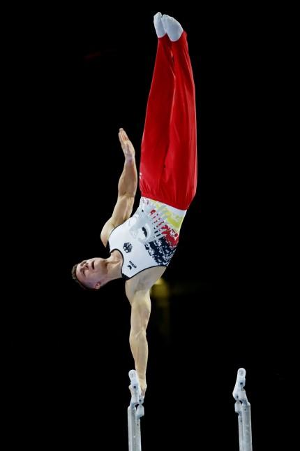Stuttgart , Turnen Weltmeisterschaft 2019 ; Qualifikation Herren , Lukas Dauser ( GER ) *** Stuttgart , Gymnastics Worl