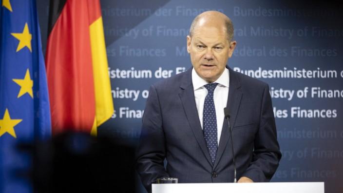 Pressekonferenz nach Sitzung des ECOFIN Rat mit Bundesfinanzminister Olaf Scholz, SPD. Berlin, 10.07.2020 Berlin Deutsc