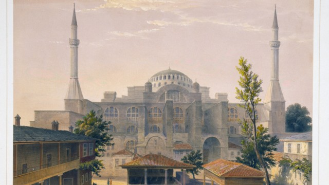 Colour lithograph of the Madrasah courtyard and exterior of Ayasofya Mosque formerly the Church of
