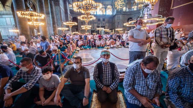 First Prayers Held At Reconverted Hagia Sophia Mosque After Status Change