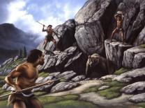 Neanderthals hunt a cave bear PUBLICATIONxINxGERxSUIxAUTxONLY Copyright JerryxLoFaro StocktrekxIma